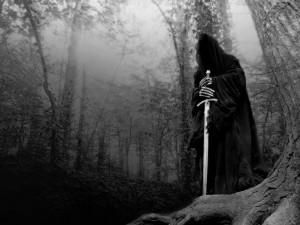Desenho branco e preto de um Nazgûl